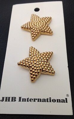 """2 Vintage 1"""" Realistic Novelty Figural Plastic Gold Star Buttons"""