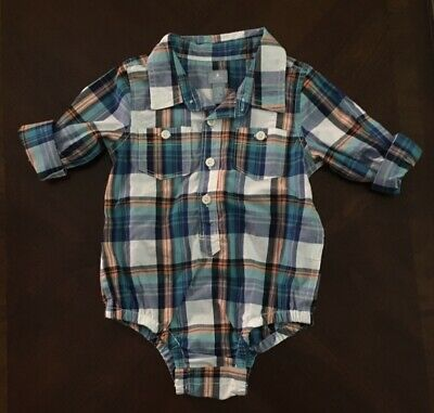 Baby Gap Boys Plaid Body Suit Dress Shirt 12-18 Months Easter Spring NWOT
