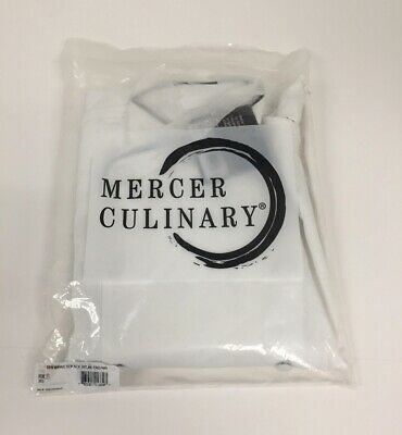 Mercer Culinary Womens Scoop Neck Chef Jacket White with Black Piping - XXS