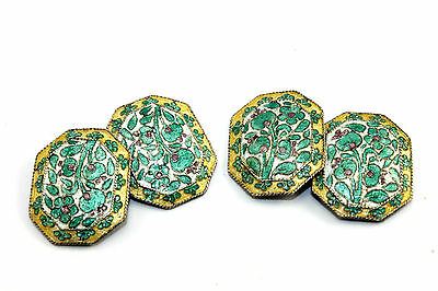ORNATE Antique EARLY VICTORIAN Sterling silver CLOISONNE Double Sided Cufflinks