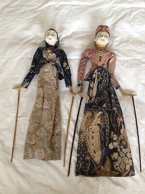 Vintage Indonesian Shadow Puppets X2 Rod Puppets Carved Wooden Heads Clothed