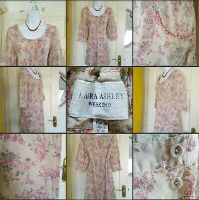 *Used* Lovely Ladies Laura Ashley Pink & Floral Top Blouse Dress Summer Size 12