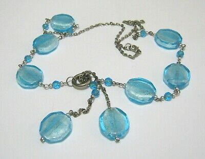 Lovely silver tone metal chain necklace gorgeous blue beads approx 62 cm long