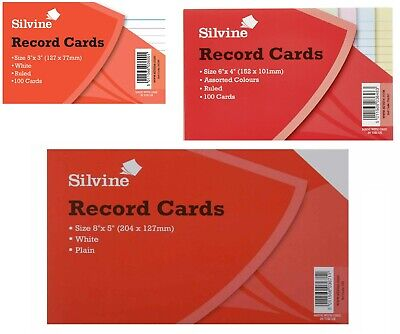 100 x Record Cards White/Ruled/Coloured Silvine Revision Flash Cards