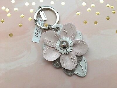 NOW ON SALE - Coach Pink Leather Flower Keyring/Bag Charm
