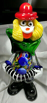 "VINTAGE MURANO ART GLASS ITALY CLOWN PLAYING ACCORDION 9.5"" Tall"