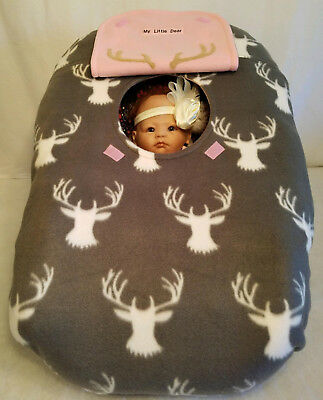 Car Seat Cover Gray Buck Fleece n Pink Baby Cozy Custom Embroider Infant