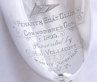 Silver Yachting Penarth Boat Club Trophy Cup. Ladies Sailing Commodores Cup 1895
