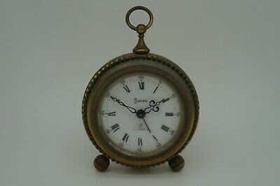 Reveil Swiza Mecanique 8 Jours Ancien De Collection En Bronze Swiss Made