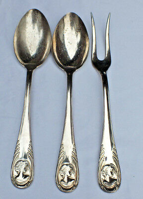 Vintage  Meat Fork & 2 Serving Spoons Italian Arg800 Silver Plated