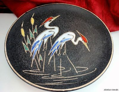Vintage Mid Century West German Ruscha Enamel Great Herons Black Plate