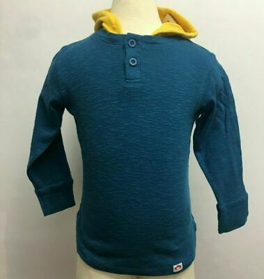Appaman Kids Toddlers Thermal Long Sleeve Hooded Henley Shirt Blue Yellow