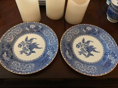 SPODE CAMILLA BLUE Bone Gold Trim smooth salad plates lot of 2