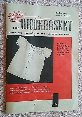 Vintage Workbasket Magazine Oct. 1956 Needlecraft Knit Crochet