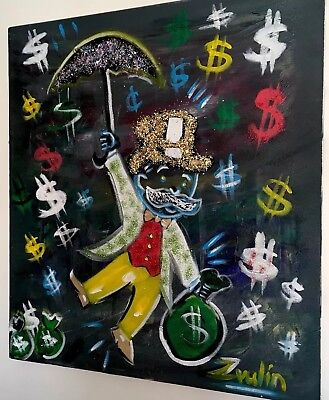 """Monopoly Painting Signed  """"Mr Umbrella"""" Alec Monopoly  Kaws By Zvulin COA"""