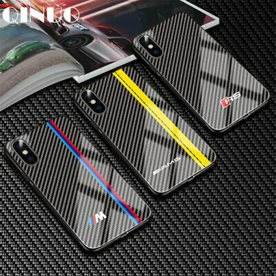 BMW Supercar Case For Apple iPhone 6 6s 7 8 Plus X Xs Max Tempered Glass Carbon
