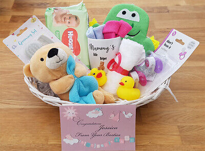 Personalised Baby Shower Basket gift baby boy or girl shower blue pink white