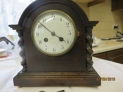 Antique Vincenti French Mantel Clock Enamel Face, Wood Case Runs & Strikes