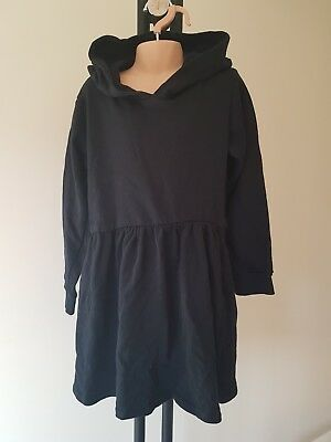 Girls black cosy HOODIE DRESS pretty little thing age 7-8 NEW