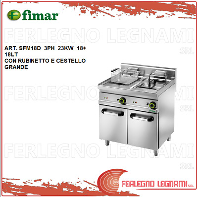 Deep Fryer Electric 18+18lt 23kw 3ph with Rubin. and Basket Big Fimar Sfm18d