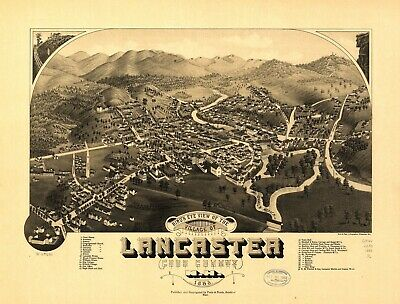 A4 Reprint of American Cities Towns States Map Lancaster Nh