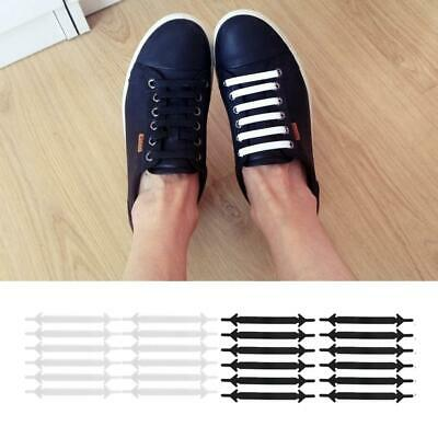 12pcs No Tie Rubber Shoe Laces Easy Shoes Lace Trainers Snickers Kids Adults UK