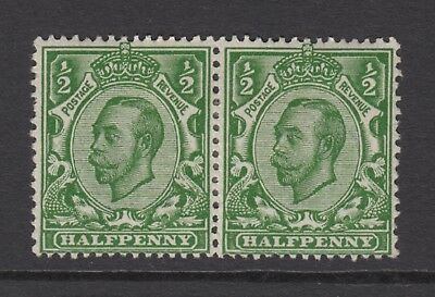 Pair of GB KGV 1/2d Deep Green SG338 George V 1912 Mint Hinged Downey Stamps