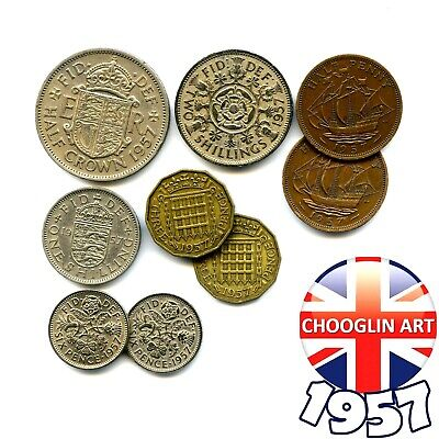 Collection of 1957 British ELIZABETH II issue coins, 63 Years Old!