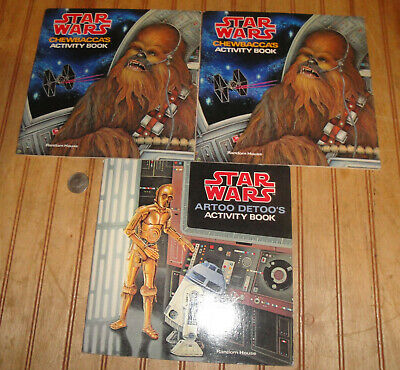Lot of (3) Vintage 1979 Star Wars Chewbacca & R2D2 Activity Books Unused