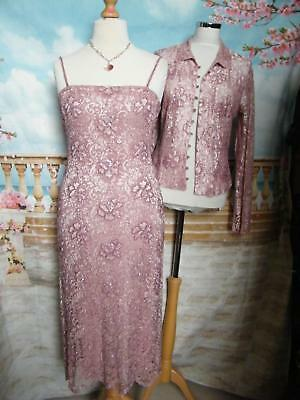 PHASE EIGHT Dress & Jacket 12/14 Beaded Pink Lace Evening/Gatsby/Downton 1920s