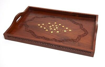 Large sheesham wood serving tray with brass inlaid detail 46cm x 30cm
