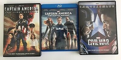 Captain America Marvel 3 Movie Collection First Avenger Winter Soldier Civil War