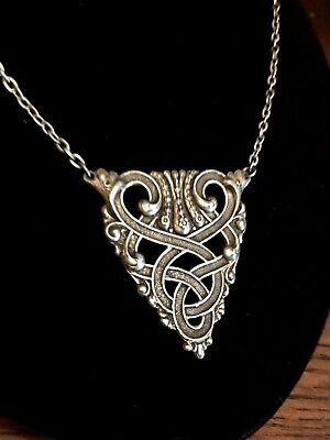 NWT BRAND NEW Celtic Sterling Silver Plated Necklace Brass Antique Silver Finish