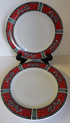 """2 Coca Cola Gibson Stained Glass White Red Dinner Plates 10.5"""" 1996 Collectible"""