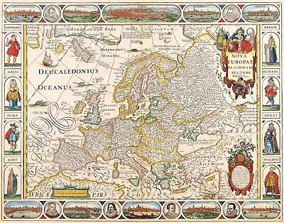 A4 Reprint of Old Maps Old Map Of Europe 1