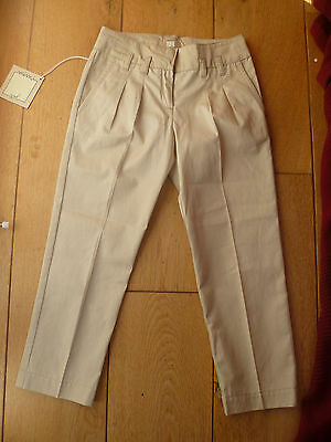Mimi Sol Beige Pleat Front Tapered Chino Trousers 6 Years 100% Cotton Bnwt