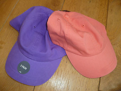 Marks And Spencer 2 Pack Purple Coral Pink Summer Sun Cap Hat 3 6 10 14 Yr Bnwt