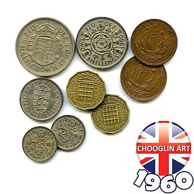 Collection of 1960 British ELIZABETH II issue coins, 60 Years Old!