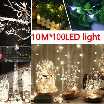 10M*100 LED Cool White Battery Micro Rice Wire Copper Fairy String Lights Party