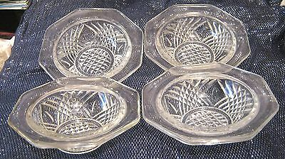 4x very pretty pressed glass bowls in a vintage style approx 5½ ins diameter