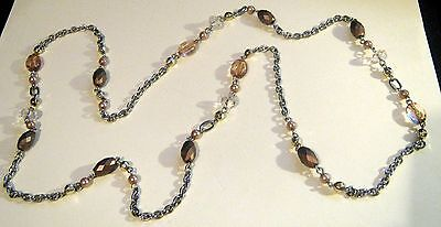 Necklace silver tone metal chain with various gorgeous beads 105cm long