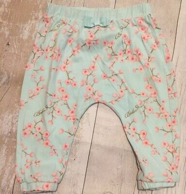Ted Baker Baby Girl Cherry Blossom Trousers 9-12 Months Blue Vgc