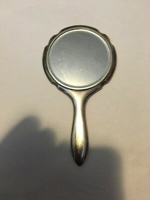 Antique 5 Inch  950 Silver Hand Mirror Beautiful Floral Design