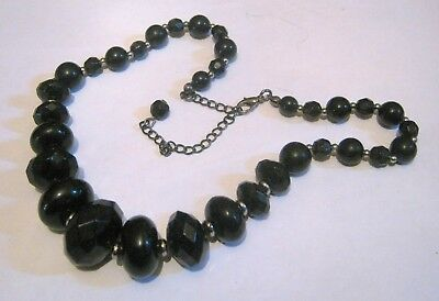 Great black beaded necklace some faceted dark silver tone metal fittings