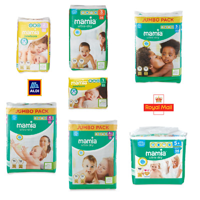 Aldi Mamia Newborn Ultra Dry Nappies Diapers ALL SIZES | Size 1 2 3 4 4+ 5 5+