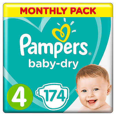 Pampers Baby-Dry Size 4, 174 Nappies, 9-14kg, Monthly Pack