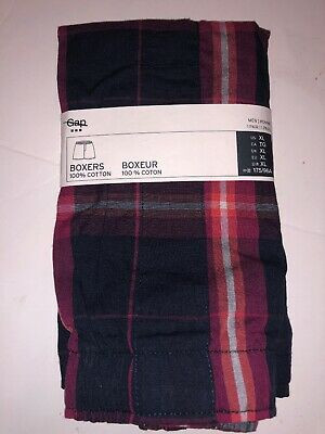 GAP Men's Printed Boxer Red Plaid Size XL - Cotton - New