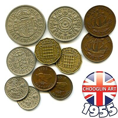 Collection of 1955 British ELIZABETH II issue coins, 65 Years Old!