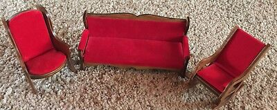 Vintage Wooden Doll Furniture Lot. Red Velvet Couch & Chair & More