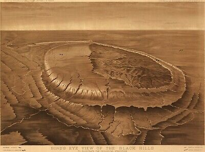 A4 Reprint of Old Maps 1800'S Birds Eye View Black Hills Geological